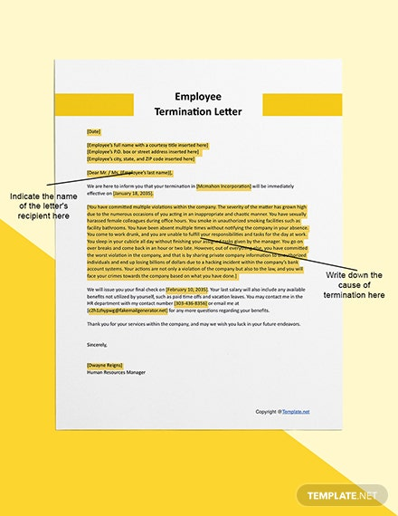 Free Sample Employee Termination Letter   Sample