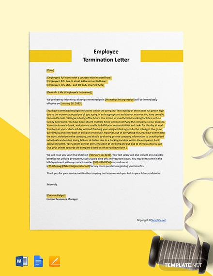 Free Sample Employee Termination Letter  Format
