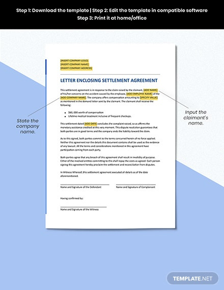 Letter Enclosing a Settlement Agreement Format