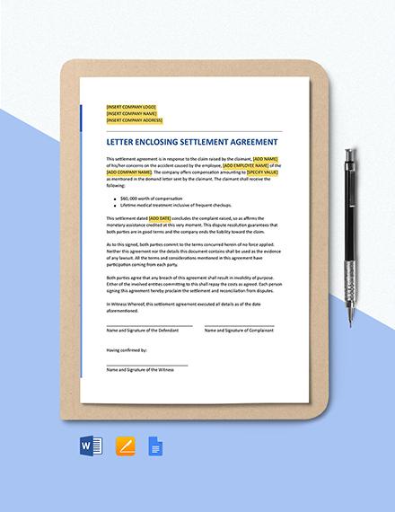 Letter Enclosing a Settlement Agreement Template