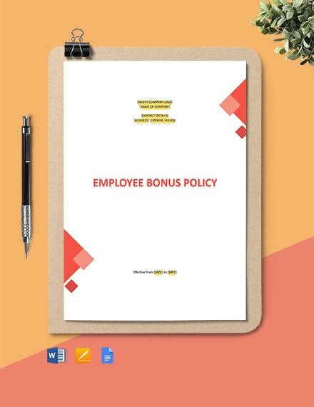 Employee Bonus Policy Template
