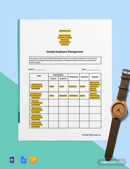 Free Sample Employee Management Template