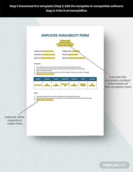 Employee Availability Form Format