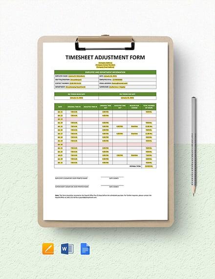 Time Sheet Adjustment Form Template