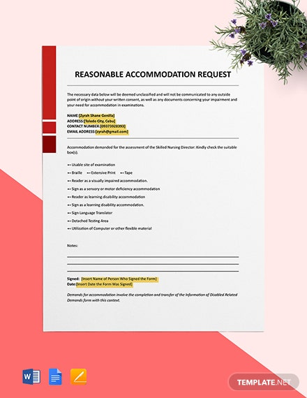 Reasonable Accommodation Request Format