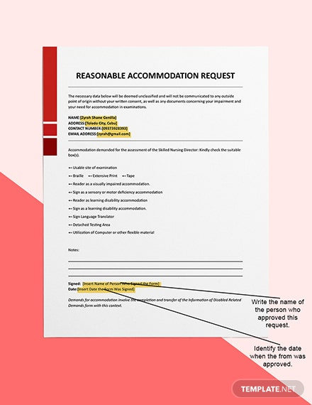 Reasonable Accommodation Request Sample