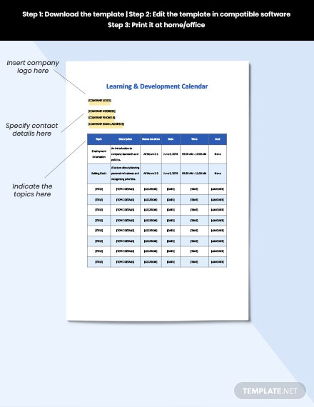 LD Calendar Template Editable
