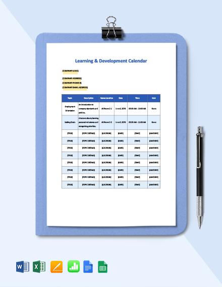 L&D: Calendar Template