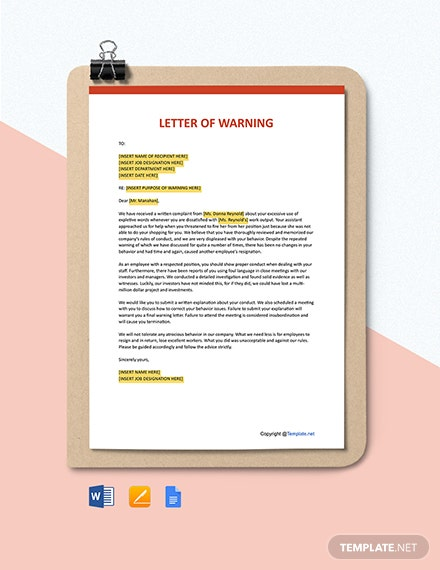 Free Letter Of Warning Template