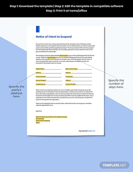 Free Notice of Intent to Suspend Format