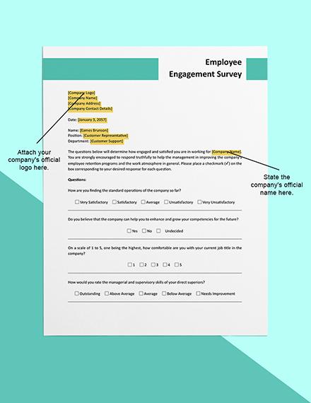 Employee Engagement Survey Form  Sample