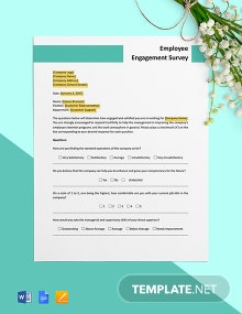 Employee Engagement Survey Form Template