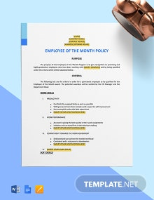 Employee of the Month Policy Template