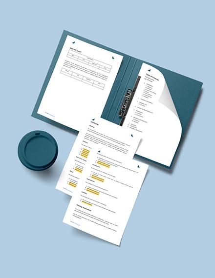 Sample Training Plan Format