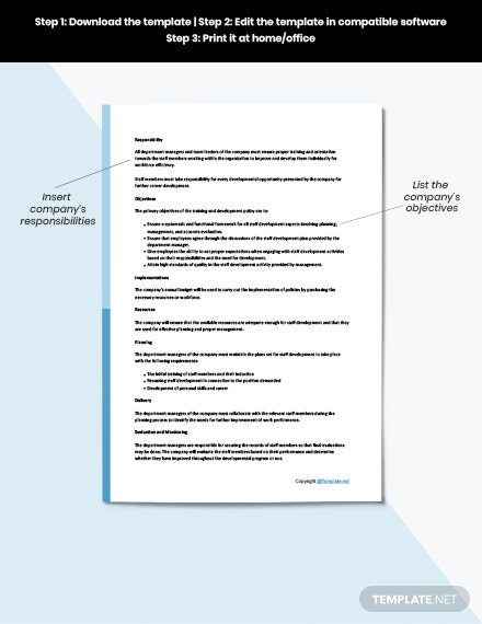 Free training and development policy template download