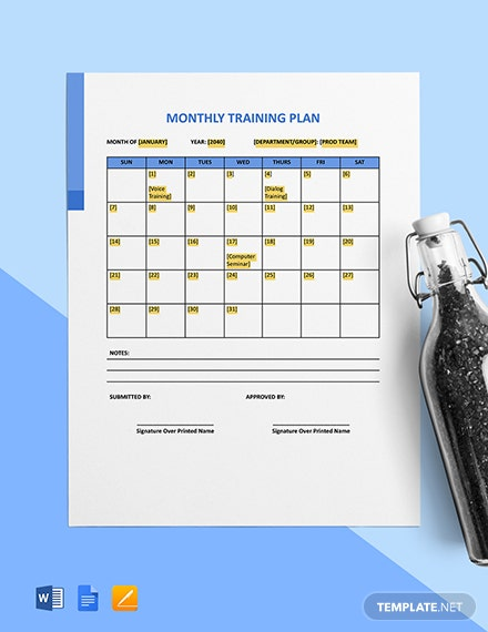 Monthly Training Plan Template
