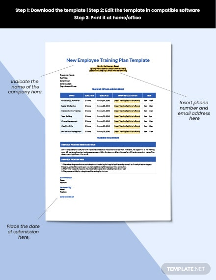 New Employee Training Plan Format