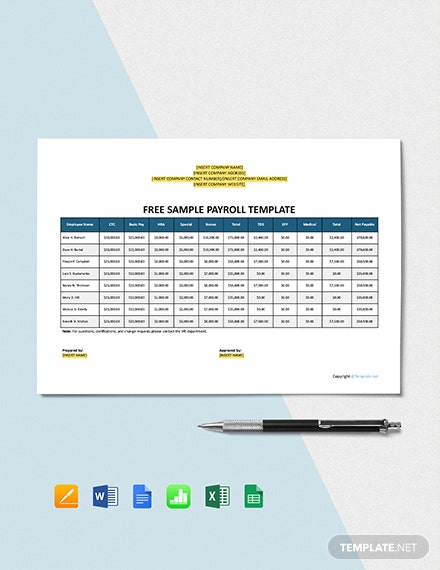 Free Sample Payroll Template