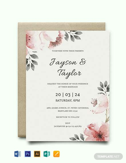 Free Vintage Wedding Invitation Template