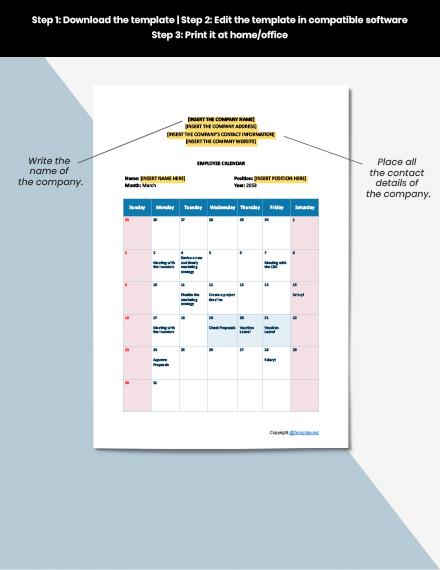 Free Employee Calendar Template download