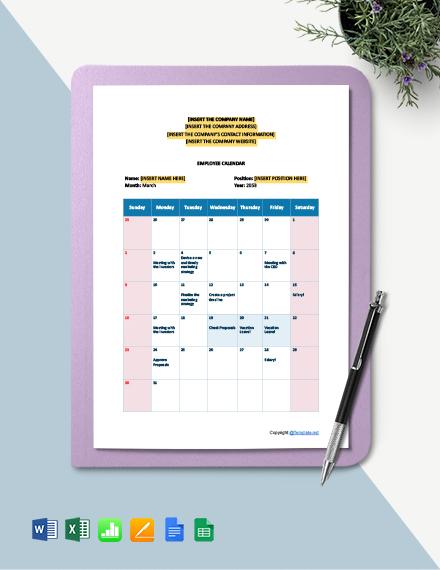 Free Employee Calendar Template