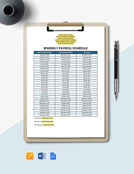 Biweekly Payroll Schedule Template