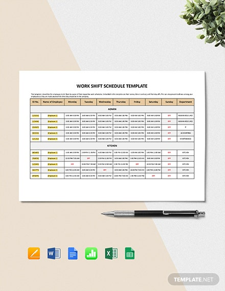 Work Shift Schedule Template