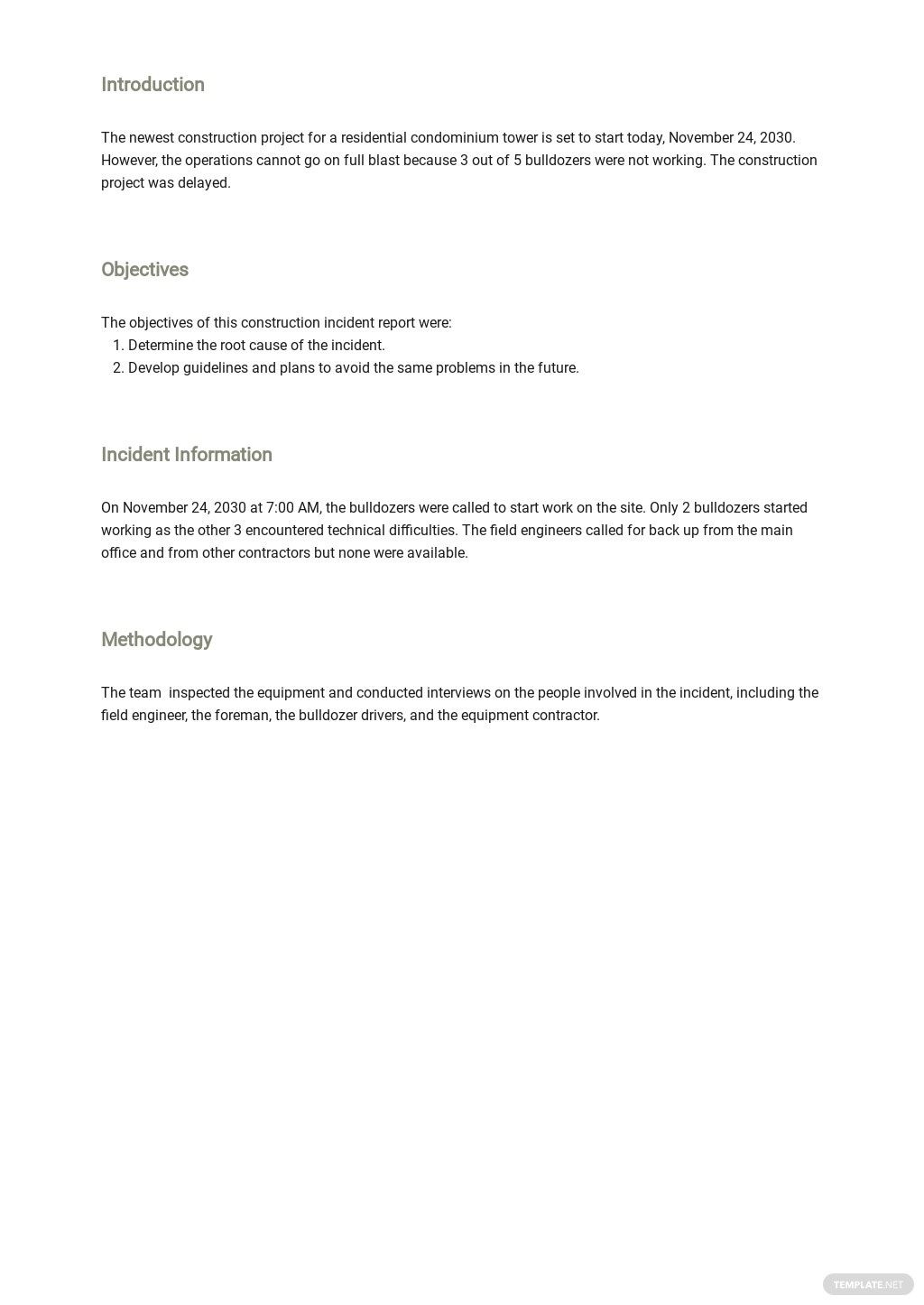 Free Blank Construction Incident Report Template  1.jpe