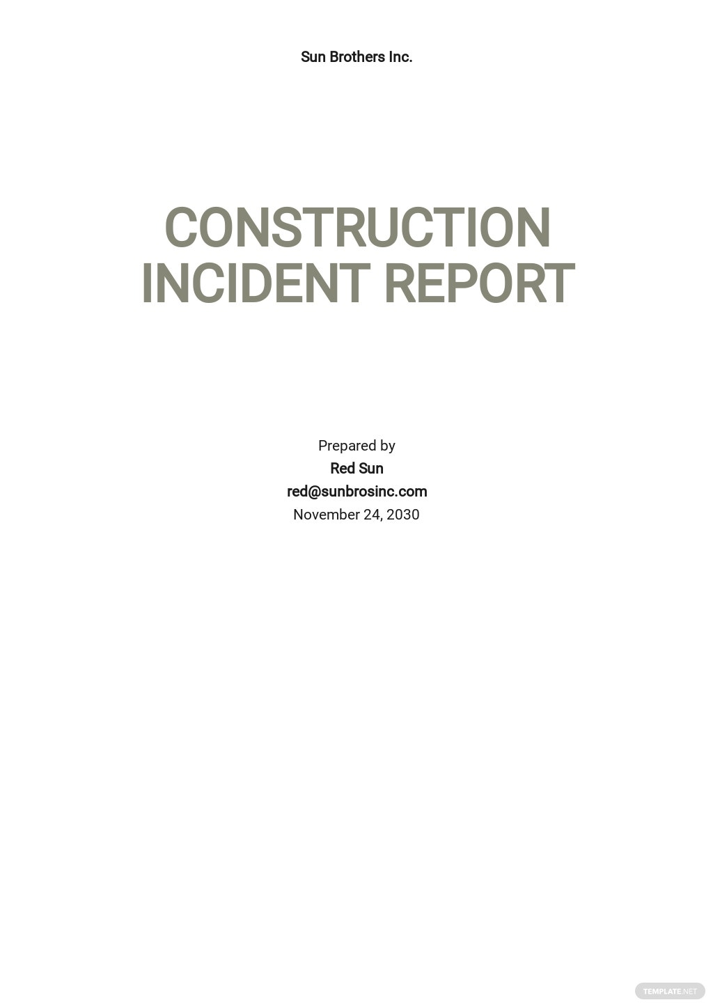 Blank Construction Incident Report Template
