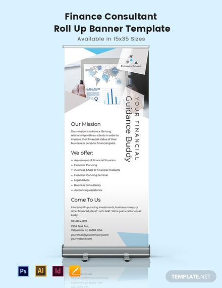 Finance Consultant Roll Up Banner Template