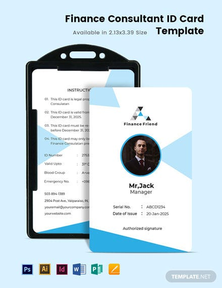 Finance Consultant ID Card Template
