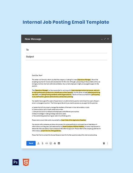 Internal Job Posting Email Template