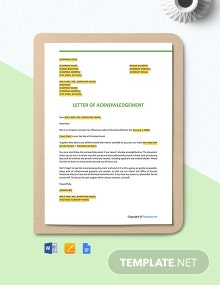 Free Sample Employee Acknowledgement Letter Template