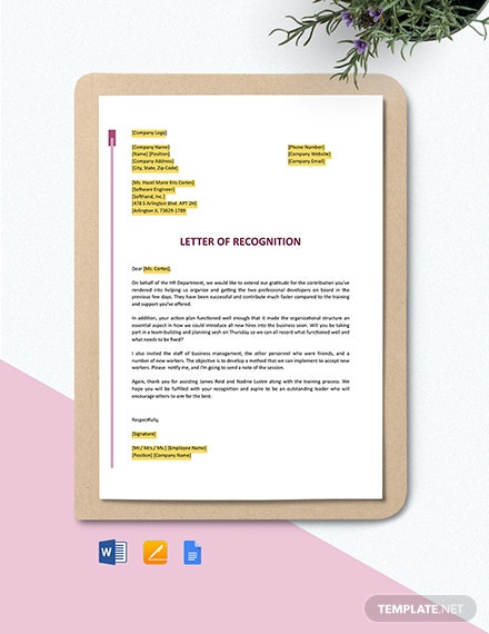 Employee Recognition Award Letter Template