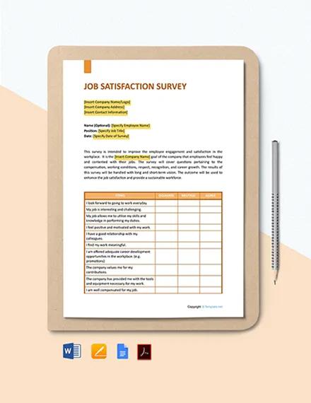 Free General Job Satisfaction Survey Template