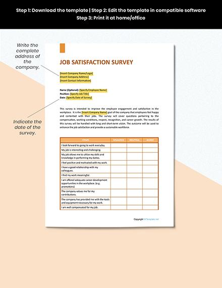 Job Satisfaction Survey Sample