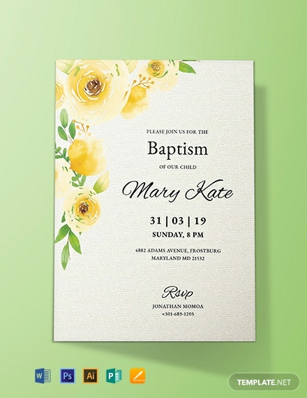 Free Baptism Invitation Card Template