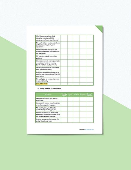 Employee Satisfaction Survey Format