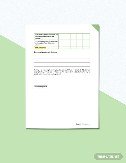 Employee Satisfaction Survey Sample