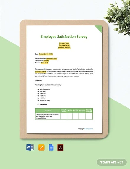 Free Sample Employee Satisfaction Survey Template