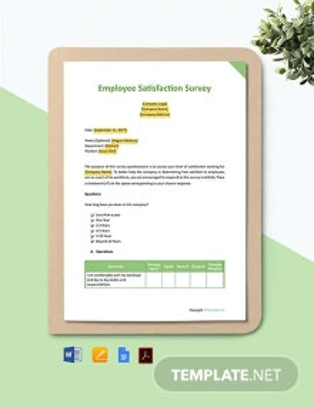 Free Sample Employee Satisfaction Survey Template