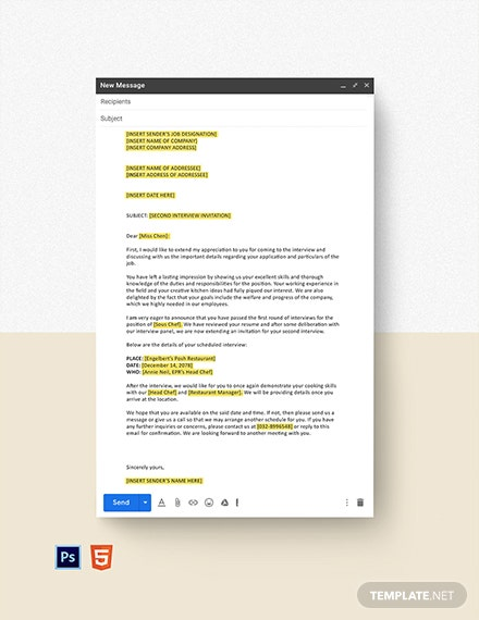 Second Interview Invitation Email Template  - HTML5, PSD