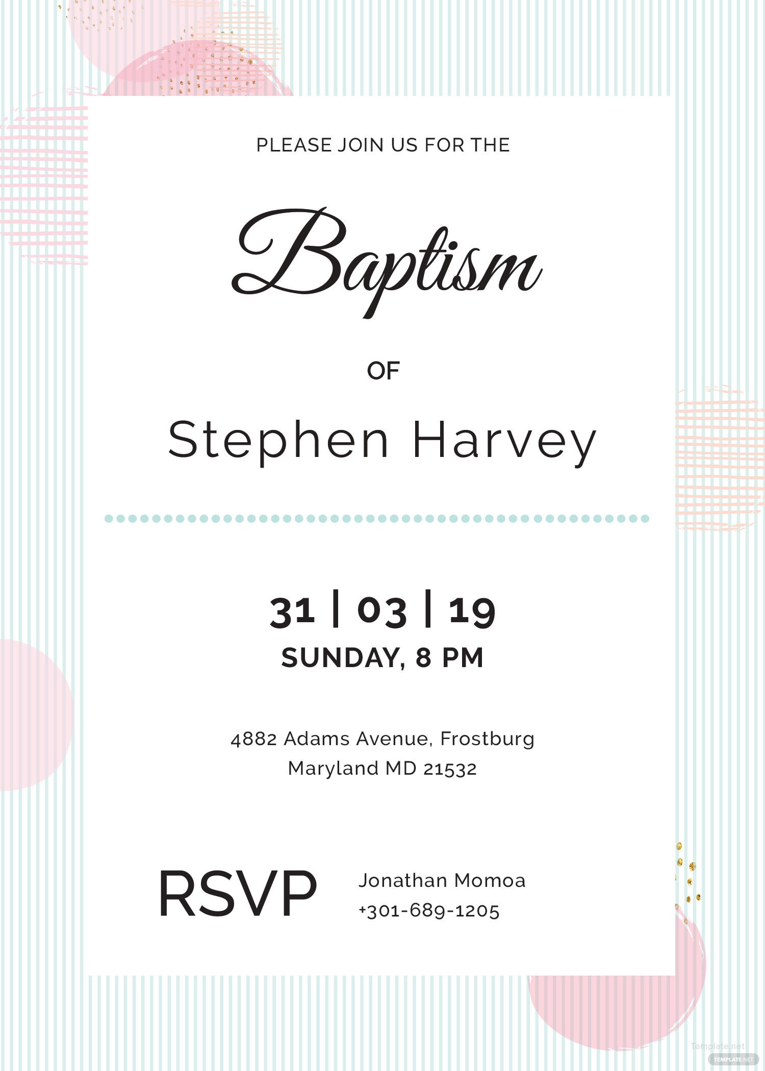 Sample Baptism invitation