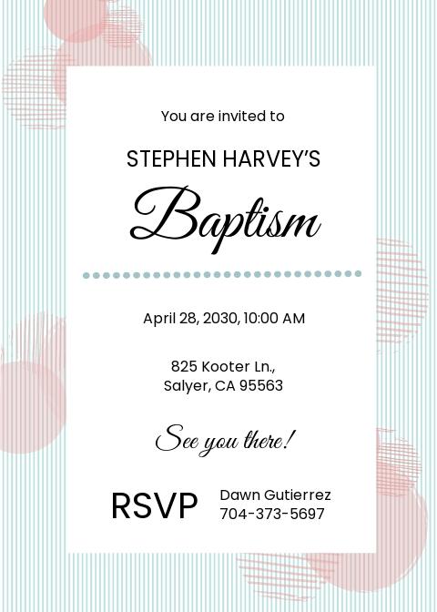 Free Sample Baptism Invitation Template