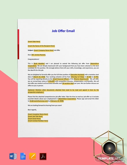 Job Offer Email Template