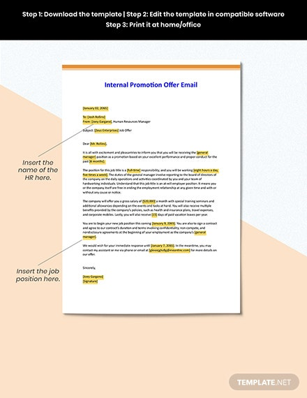 Internal Promotion Offer Email Format