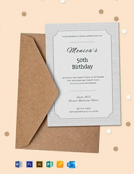 Free Formal Birthday Invitation Template