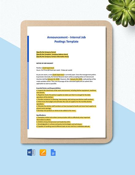 Announcement - Internal Job Postings Template