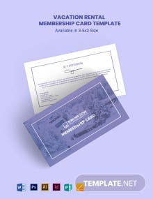 Vacation Rental Membership Card Template