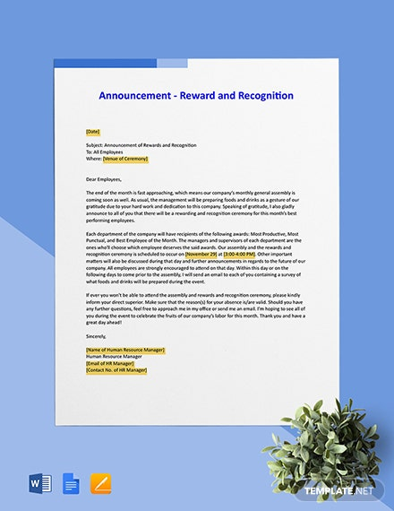Announcement - Reward and Recognition Template